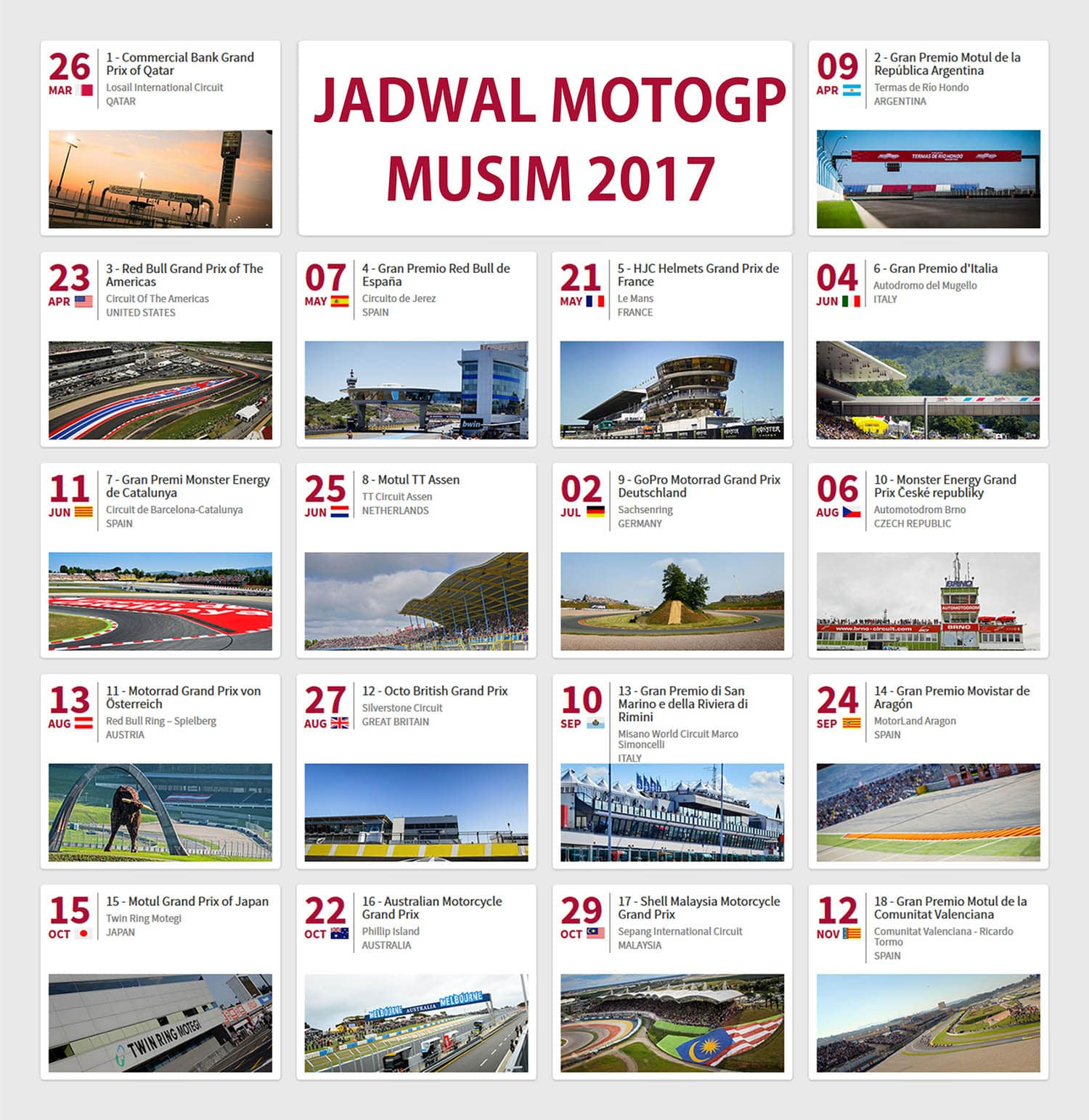Calendar Motogp | MotoGP 2017 Info, Video, Points Table
